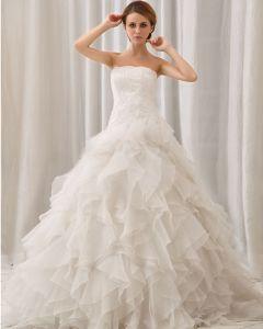 Elegant Fast Skiktad Axelbandslos Dragkedja Bak Domstol Tag Organza Spets Balklänning Bröllopsklänningar Brudklänning