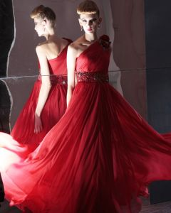Silk Charmeuse One Shoulder Bead Handmade Flower Floor Length Evening Dress