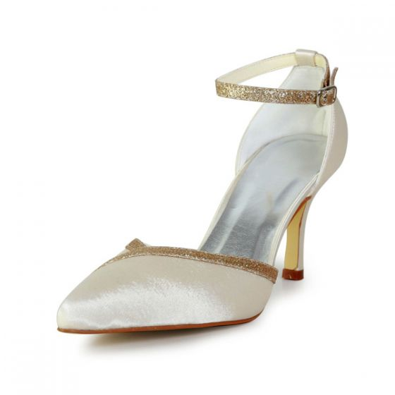 Champagne Scintillant Des Talons Aiguilles Chaussures De Mariée De Satin Escarpins Avec Sangle Paillettes À La Cheville