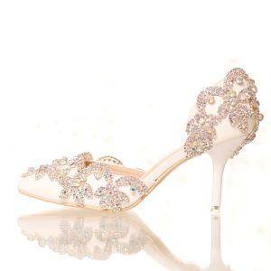 Chic / Belle Blanche 2018 7 cm Talons Hauts À Bout Pointu Perlage Cristal Faux Diamant Mariage Promo Talons Aiguilles Chaussure De Mariée