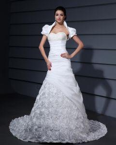Sicke Applique Dekor Schatz Kapelle Zug Taft Braut Gewachsen Mermaid Brautkleid
