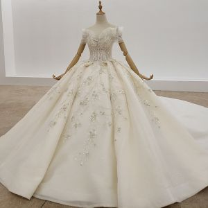 Modern / Fashion Champagne Ball Gown Wedding Dresses 2020 Tulle Crossed Straps Handmade  Backless Beading Crystal Pearl Sequins Cathedral Train Wedding