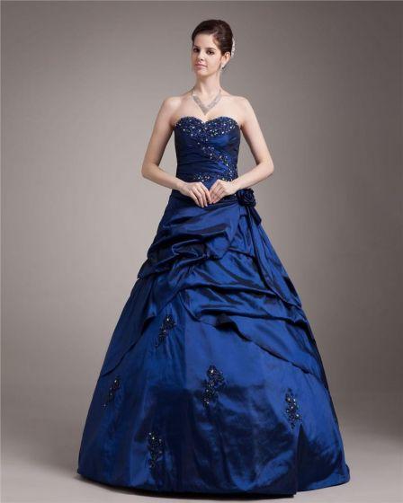 Ball Gown Taffeta Satin Ruffle Applique Beading Sweetheart Floor Length Quinceanera Prom Dresses