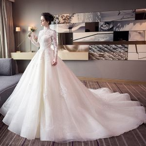 Chic / Beautiful Champagne Wedding Dresses 2018 Ball Gown Lace Appliques High Neck Backless Long Sleeve Cathedral Train Wedding