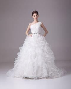 Longueur De Perles De Plancher Incline Volants Satin Plisse Fil Boule Robe De Mariée En Robe