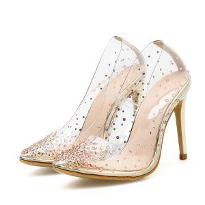 Transparent Gold Evening Party Rhinestone Pumps 2020 10 cm Stiletto Heels 10 cm / 4 inch Pointed Toe Pumps