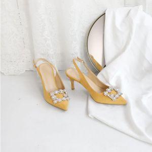 Schöne Gelb Brautjungfer Slingpumps Sandalen Damen 2020 Wildleder Strass 10 cm Stilettos Spitzschuh Sandaletten