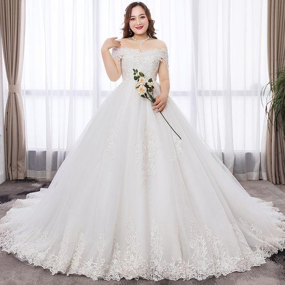 Proste Simple Białe Suknia Balowa Duży Rozmiar Suknie ślubne 2019