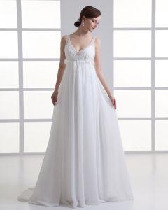 Chiffon Sicke Rüschen V-ausschnitt Bodenlange Falten Reich Hochzeitskleid