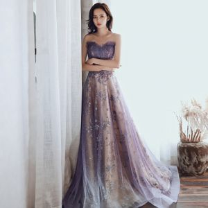 Charming Purple Glitter Evening Dresses  2020 A-Line / Princess Strapless Beading Sequins Lace Flower Sleeveless Backless Sweep Train Formal Dresses