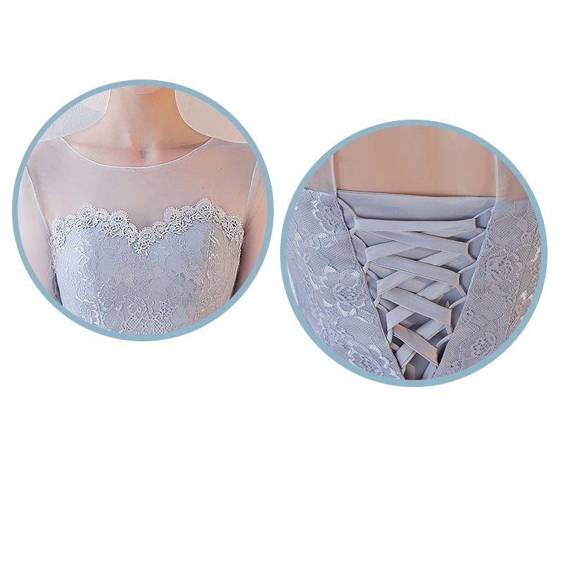 Chic / Beautiful Grey Bridesmaid Dresses 2017 A-Line / Princess Appliques Lace Tea-length Backless Wedding Party Dresses