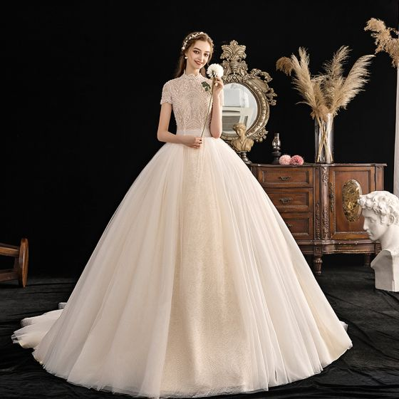 Vintage / Retro Champagne Wedding Dresses 2019 Ball Gown High Neck Short Sleeve Beading Pearl Chapel Train Ruffle