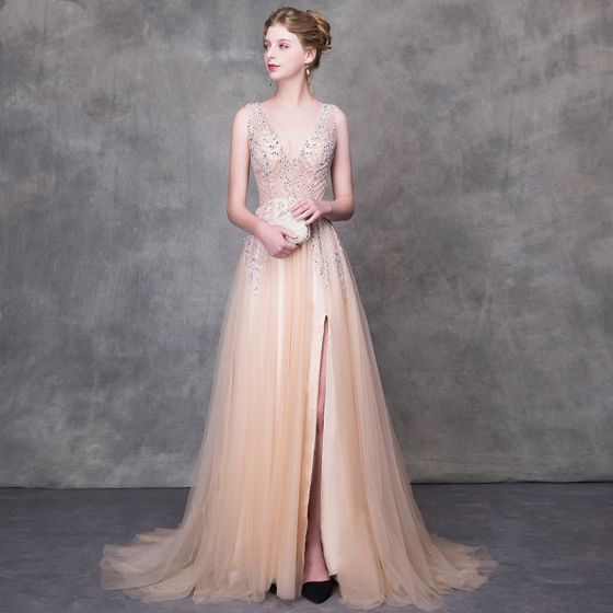 Luxury / Gorgeous Champagne Evening Dresses  2018 A-Line / Princess Beading Sequins V-Neck Backless Sleeveless Sweep Train Formal Dresses