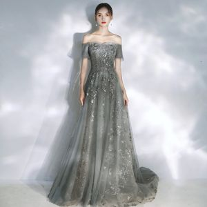 Elegant Grey Evening Dresses  2020 A-Line / Princess Off-The-Shoulder Puffy Short Sleeve Beading Appliques Sequins Court Train Ruffle Backless Formal Dresses