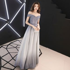 Charming Silver Gradient-Color Evening Dresses  2019 A-Line / Princess Off-The-Shoulder Glitter Polyester Short Sleeve Backless Floor-Length / Long Formal Dresses