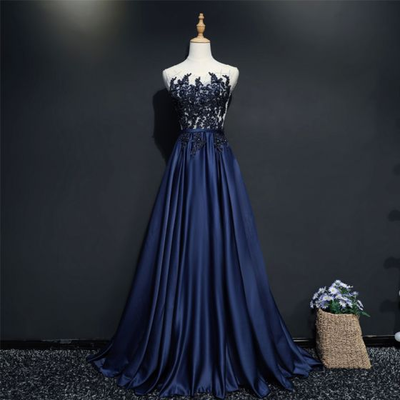 Chic / Beautiful Navy Blue Evening Dresses  2017 A-Line / Princess Lace U-Neck Appliques Backless Beading Handmade  Evening Party Formal Dresses