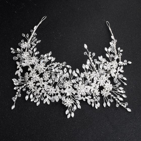 Charming Silver Hair Hoop Headpieces 2020 Alloy Crystal Rhinestone Bridal Hair Accessories
