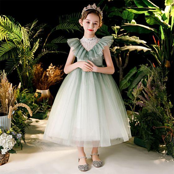 Vintage Verde Salvia Cumpleaños Vestidos para niñas 2020 Ball Gown Transparentes Cuello Alto Sin Mangas Rebordear Tassel Glitter Tul Té De Longitud Ruffle
