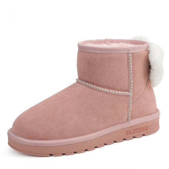 8b8631768360e4 Stylowe / Modne Buty Damskie 2017 Różowy Perłowy Skórzany Botki Zamszowe  Kokarda Przypadkowy Zima Płaskie Snow Boots