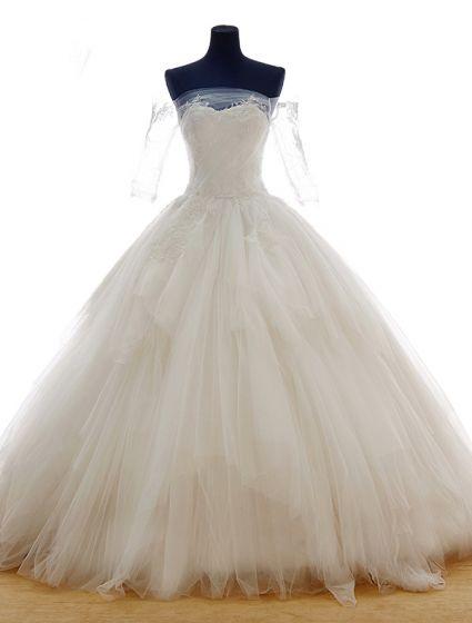 Blomst Serie · Kjæreste Utenfor Skulder Appliques Lace Puffy Ball-kjole Brudekjole