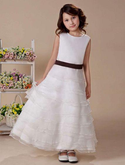 Organza-rüsche-rock-schärpe Taft Blumenmädchen Kleid Kommunionkleider