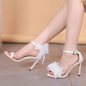 Affordable Casual Ivory Womens Sandals 2020 Ankle Strap Bow 10 cm Stiletto Heels Open / Peep Toe High Heels