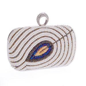 Luxe Ivoire Perlage Perle Faux Diamant Métal Pochette 2018