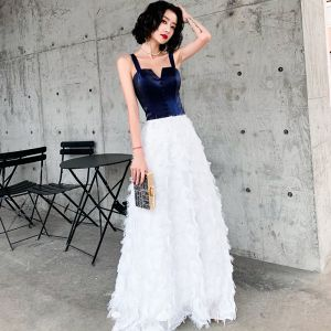 Chic / Beautiful Ivory Evening Dresses  2019 A-Line / Princess Spaghetti Straps Sleeveless Backless Tassel Floor-Length / Long Formal Dresses