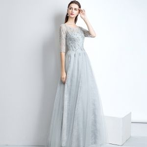Chic / Beautiful Evening Dresses  2017 A-Line / Princess Lace Sequins Scoop Neck Backless 1/2 Sleeves Floor-Length / Long Evening Party