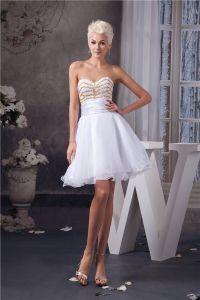 Vestido De La Graduación Corta Elegante Vestido De Cóctel Sin Tirantes Blanco