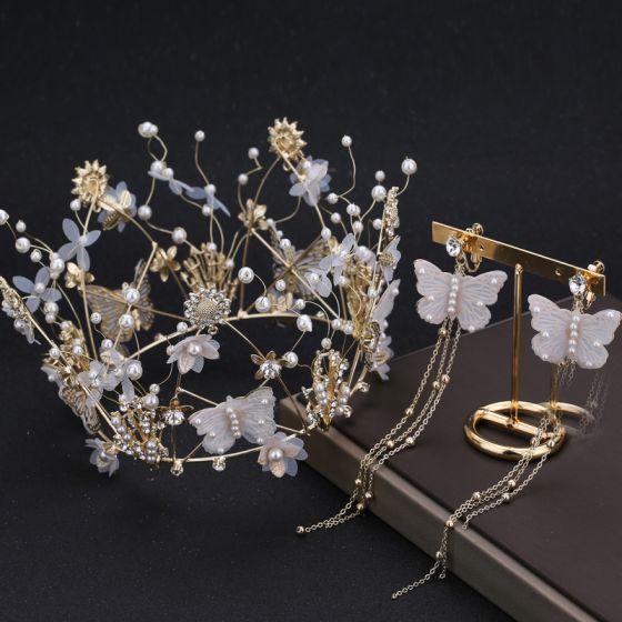 Wróżka Kwiatowa Złote Biżuteria Ślubna 2019 Metal Motyl Kwiat Rhinestone Perła Tiara Kutas Kolczyki Akcesoria