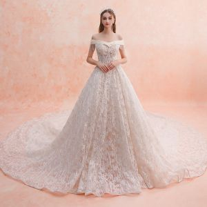 Charming Champagne Wedding Dresses 2019 A-Line / Princess Off-The-Shoulder Beading Tassel Lace Flower Sequins Short Sleeve Backless Royal Train