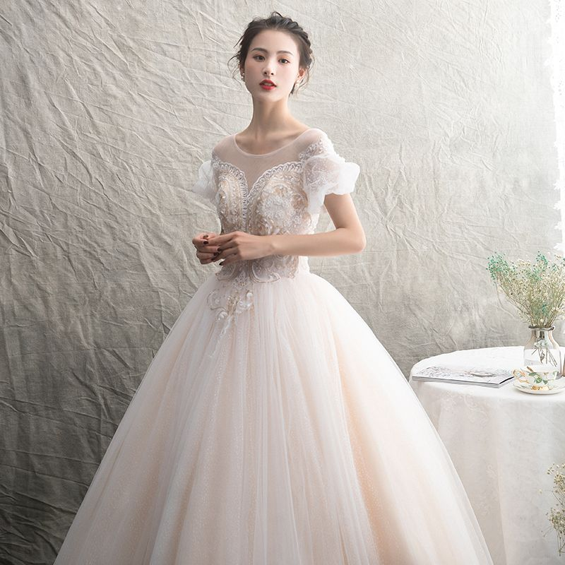 Classy Champagne See-through Wedding Dresses 2019 A-Line / Princess Scoop Neck Puffy Short Sleeve Backless Appliques Lace Beading Spotted Tulle Floor-Length / Long Ruffle