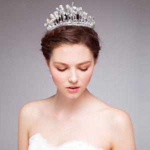 Weiß Brautkrone / Handarbeit Kristall Hochzeit Tiara / Haarschmuck