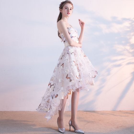 Affordable Cocktail Dresses Party Dresses Formal Dresses 2017 Lace Flower Bow Sash Backless Sleeveless Strapless Asymmetrical White A-Line / Princess