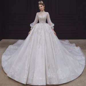 long puff sleeve wedding dress