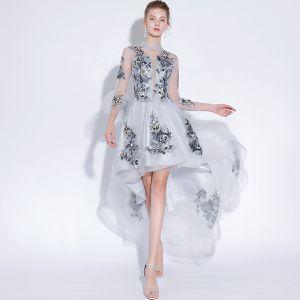 Sexy Gris Robe De Soirée 2018 Princesse En Dentelle Appliques Encolure Dégagée 3/4 Manches Courte Haute Basse Robe De Ceremonie