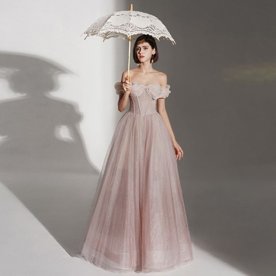 Fabulous Solid Color Pearl Pink Spring Prom Dresses 2021 A-Line / Princess Sweetheart Sleeveless Crossed Straps Glitter Tulle Taffeta Floor-Length / Long Formal Dresses