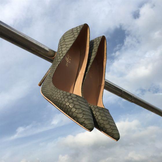 Mooie / Prachtige Leger Groen Avond Pumps 2019 Polyester Slangenprint 12 cm Naaldhakken / Stiletto Spitse Neus Pumps
