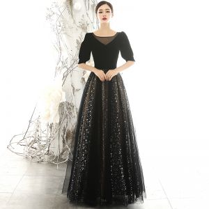 Vintage / Retro Black Suede Evening Dresses  2020 A-Line / Princess Square Neckline Puffy 1/2 Sleeves Glitter Star Tulle Floor-Length / Long Ruffle Backless Formal Dresses
