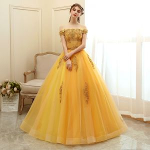 Affordable Gold Prom Dresses 2020 Ball Gown Off-The-Shoulder Short Sleeve Appliques Lace Beading Tassel Floor-Length / Long Ruffle Backless Formal Dresses