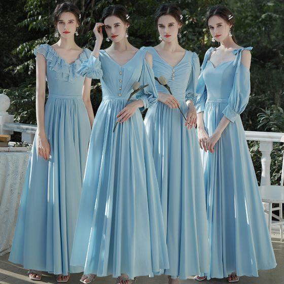 Affordable Sky Blue Chiffon Bridesmaid Dresses 2020 A-Line / Princess Backless Floor-Length / Long Ruffle