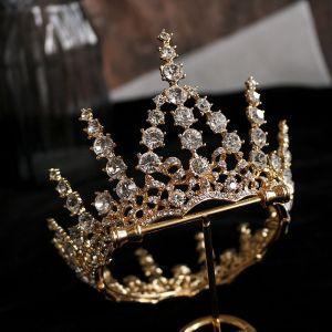 Klassisk Guld Födelsedag Tiara Brud Huvudbonad 2020 Legering Rhinestone Tillbehör