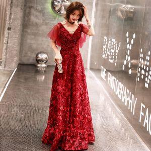 Charming Burgundy Evening Dresses  2019 A-Line / Princess V-Neck Lace Beading Crystal Short Sleeve Backless Floor-Length / Long Formal Dresses