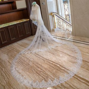 Luxury / Gorgeous White Royal Train Wedding Lace Tulle Appliques 4 m Wedding Veils 2018