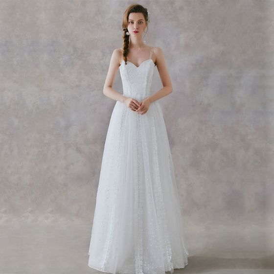 Affordable White Outdoor / Garden Wedding Dresses 2021 A-Line / Princess Spaghetti Straps Sleeveless Backless Appliques Lace Spotted Tulle Floor-Length / Long Ruffle