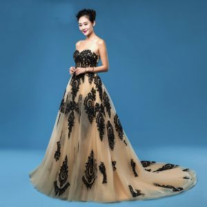 Classy Tan Prom Dresses 2019 A-Line / Princess Sweetheart Lace Flower Sleeveless Backless Court Train Formal Dresses