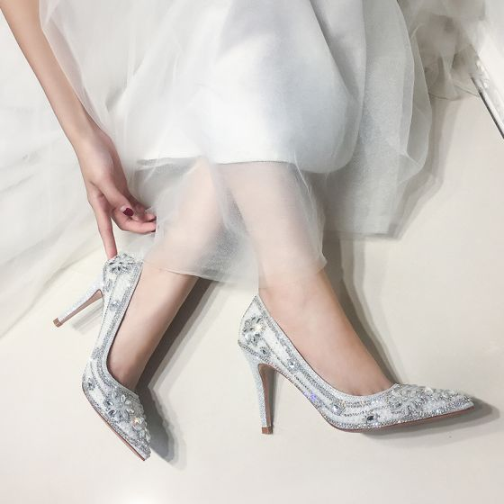 Glitter Zilveren Bruidsschoenen 2019 Leer Kristal Rhinestone 9 cm Naaldhakken / Stiletto Spitse Neus Huwelijk Pumps