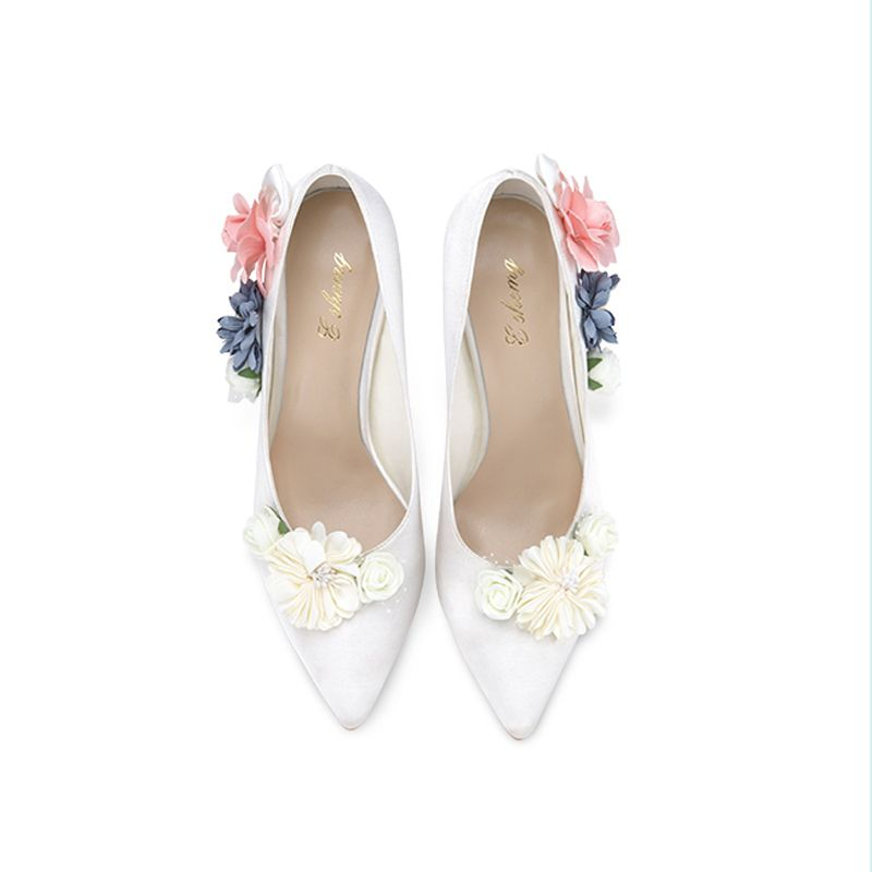 Flower Fairy Ivory Wedding Shoes 2018 Handmade  Leather Flower 8 cm Stiletto Heels Pointed Toe Wedding Pumps