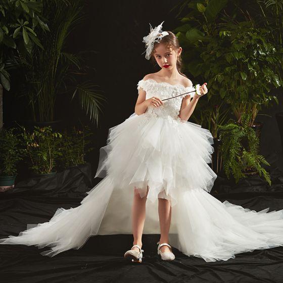 Wysoka Niska  Białe Urodziny Sukienki Dla Dziewczynek 2020 Suknia Balowa Przy Ramieniu Kótkie Rękawy Bez Pleców Aplikacje Kwiat Frezowanie Asymetryczny Kaskadowe Falbany